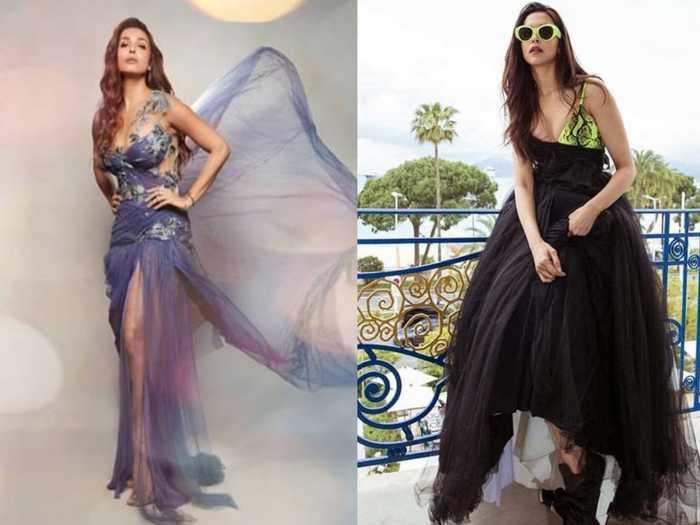 deepika padukone and malaika arora fashion faceoff in metallic off shoulder gown