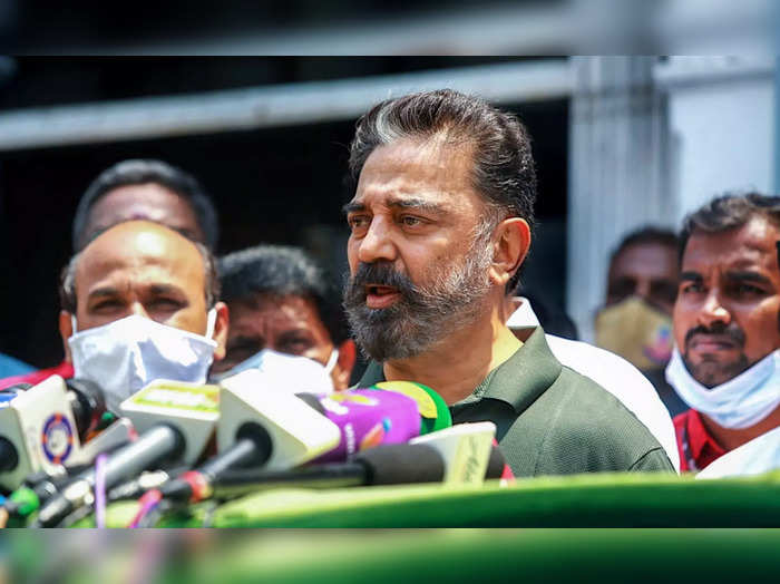Chennai: MNM President Kamal Haasan addresses media after meeting with Chief Ele...