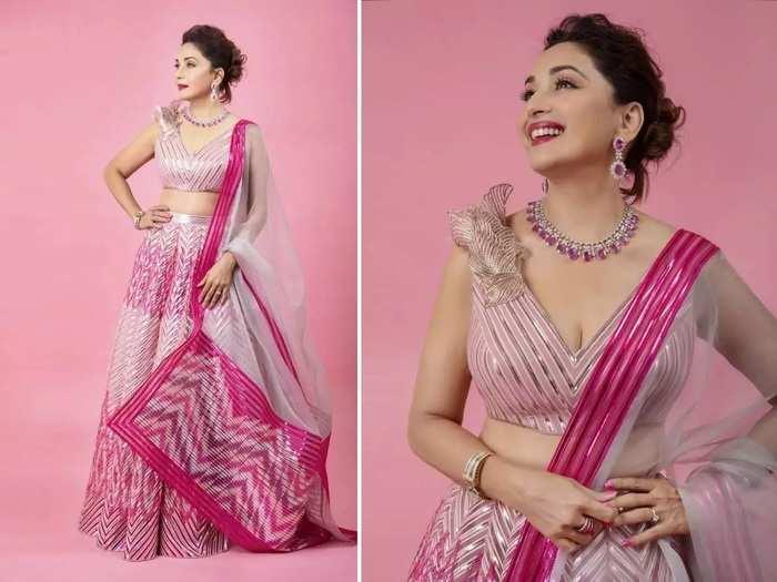madhuri dixit wore beautiful grey color lehenga with backless blouse for isha ambani wedding in marathi