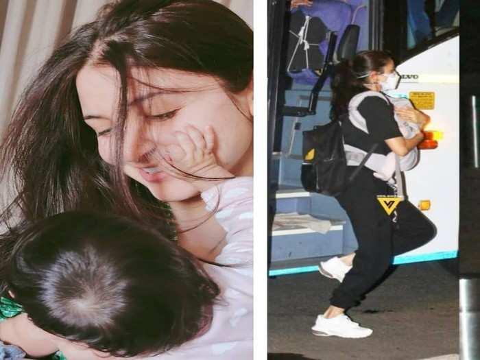 Photos- कॅमेरे पाहून अनुष्काने मुलीला छातीशी कवटाळलं, चाहत्यांनी फोटोग्राफर्सवर काढला राग