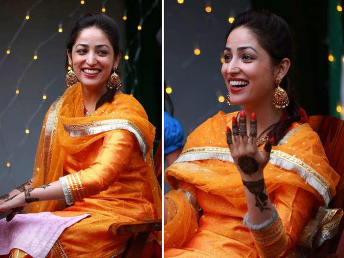 yami gautam wedding photos: Photos: शादी के बाद यामी गौतम ने शेयर की हैं  खूबसूरत मेहंदी की तस्वीरें - yami gautam shares her beautiful mehandi  pictures on instagram | Navbharat Times