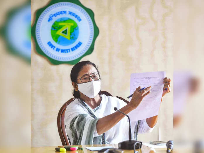 Howrah: West Bengal Chief Minister Mamata Benerjee during a meeting, at Nabanna ...