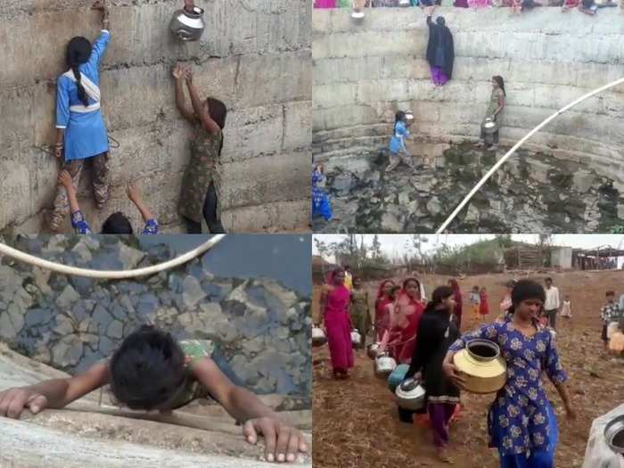daughters drawing water from well : water crisis in madhya pradesh betul, daughters are taking out water by getting down in well