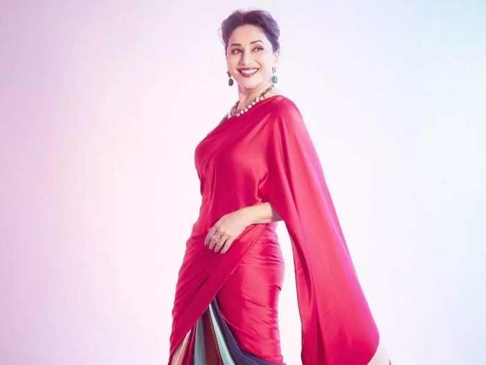 madhuri dixit beautiful and elegant look in silk satin crepe fabric red saree by designer kshitij jalori in marathi