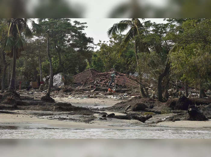 Sundarban: A damaged house in the aftermath of Cyclone Yaas at Ghoramara Island ...