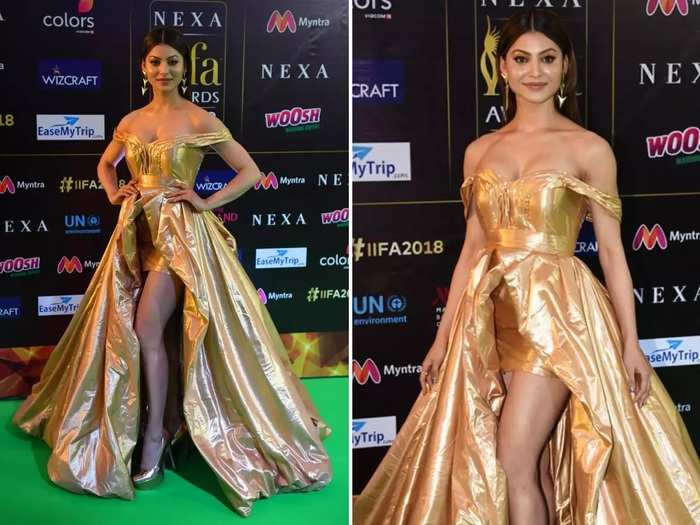 bollywood actress urvashi rautela wore 37 crore rupees gold dress for furne amato film video viral in marathi
