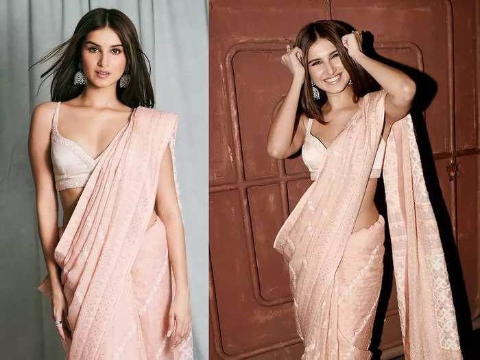 tara sutaria trolled for wearing silver sequin saree with bralette blouse by manish malhotra at bachchan family party in marathi