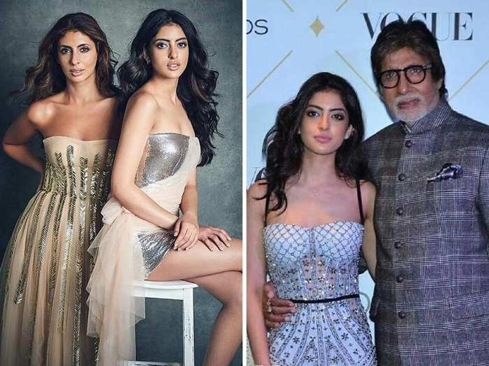 amitabh bachchan granddaughter navya naveli nanda in navy blue sweater and light blue jeans see her professional look in marathi