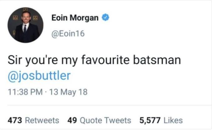 Eoin Morgan's Tweet