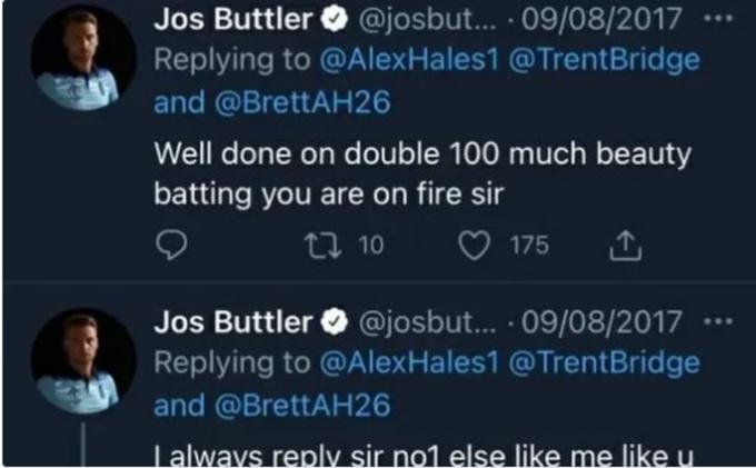 Jos Butler's Tweet