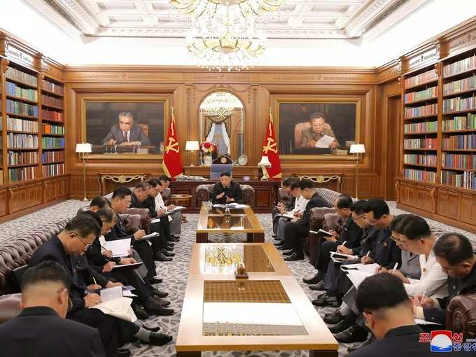KCNA image of North Korean leader Kim Jong Un at a meeting with senior officials from the Workers Party of Korea (WPK) Central Committee and Provincial Party Committees in Pyongyang.