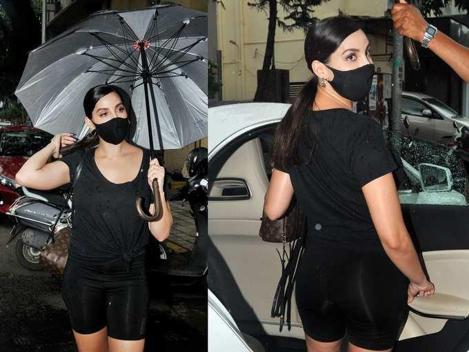 मुंबई की बारिश में निकलीं नोरा फतेही, फिर दिखा ब्लैक कपड़ों के लिए प्यार