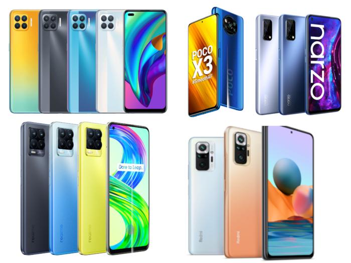 8gb ram smartphone under 20k includes infinix zero 8i, realme 8 5g, realme narzo 30 pro, xiaomi redmi note 10 pro max, realme 7 and many more, check list