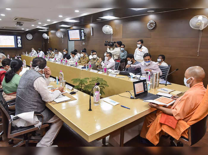 Kanpur: Chief Minister Yogi Adityanath holds a meeting with his cabinet minister...