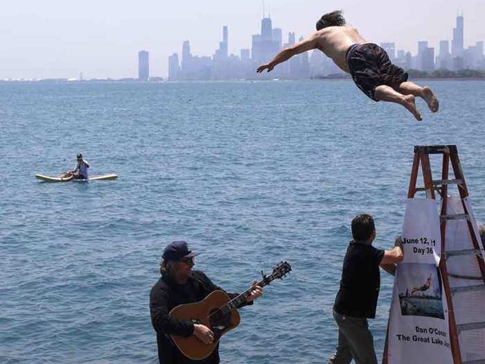 Chicago man jumps into Lake