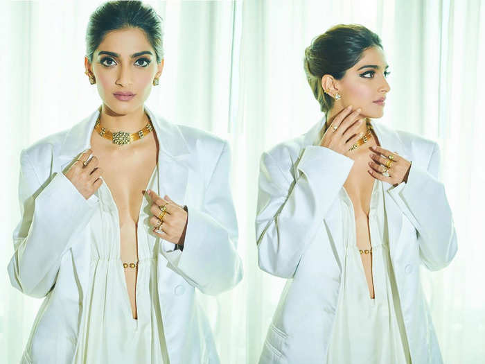 when sonam kapoor stuns everyone in expensive jacquemus white oversized shirt