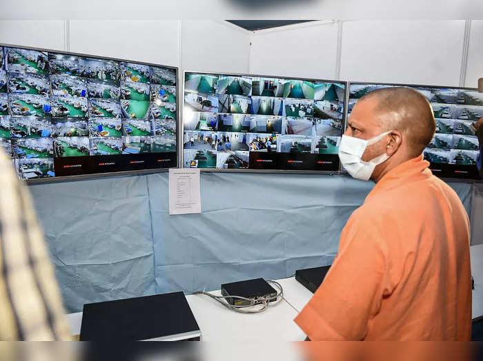 Varanasi: UP Chief Minister Yogi Adityanath inspects treatment of patients via C...