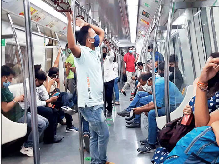 Rush in Delhi Metro