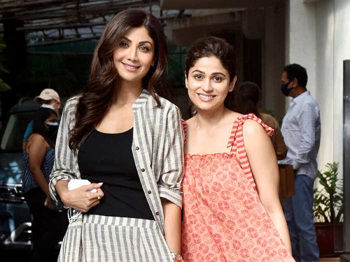 shilpa shetty and shamita shetty looks stylish in cotton made outfits