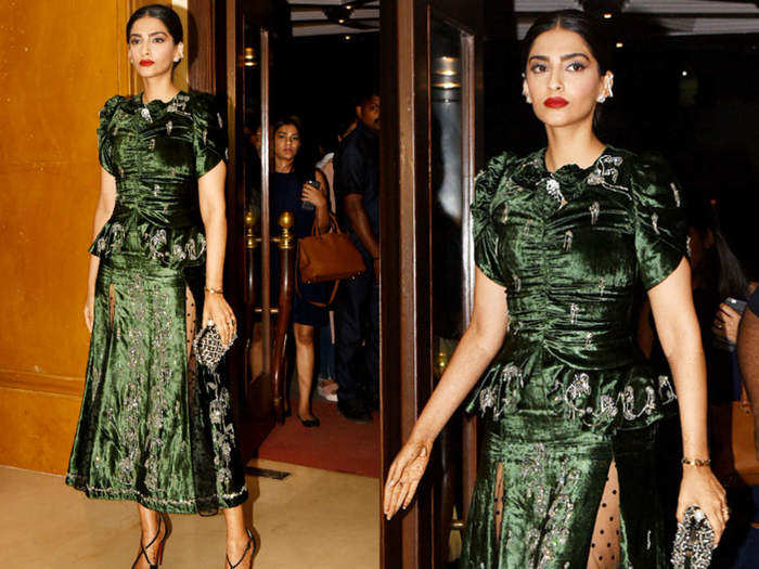 sonam kapoor looks beautiful in floral donatella crop top and skirt by emilia wickstead