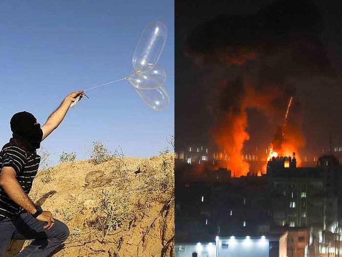 hamas incendiary condom balloons attack israel conducts air strikes on gaza