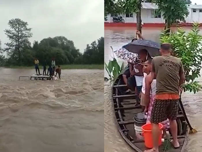 flood like situation bihar after monsoon continuous rain water enters houses west champaran