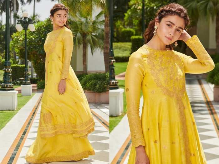 alia bhatt looks super gorgeous in banarasi silk suit at kalank promotion by ikaya banaras