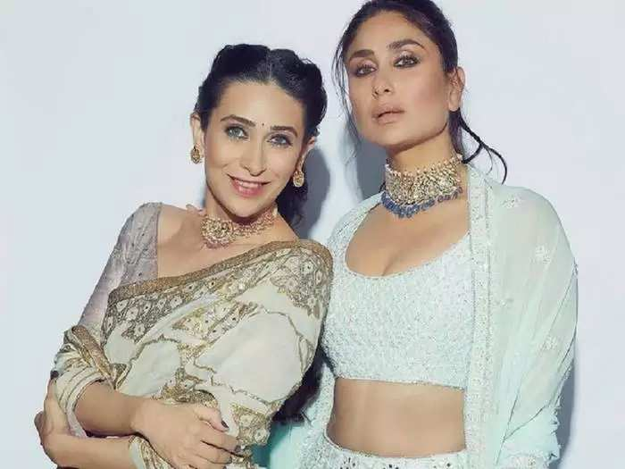 karisma kapoor wore anarkali suit for kareena kapoor and saif ali khan wedding reception party designed by manish malhotra