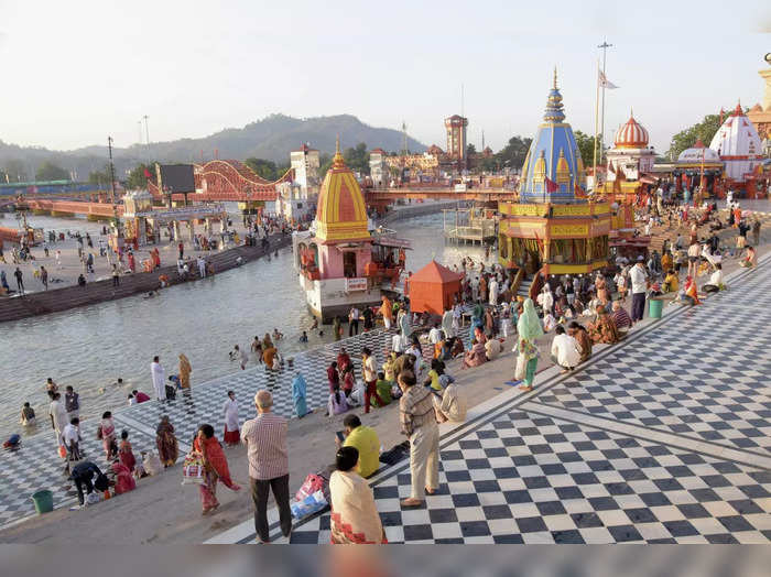 Haridwar: Devotees gather for the last Shahi Snan of Kumbh 2021 on the day of Pu...