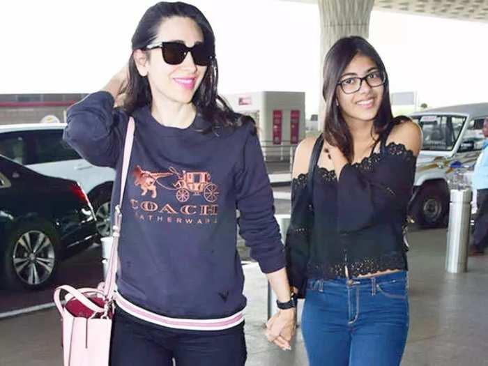bollywood actress karisma kapoor daughter samiera kapoor in ivory embroidered lehenga for armaan jain and anissa malhotra wedding reception
