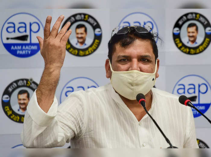 New Delhi: Aam Aadmi Party (AAP) leader Sanjay Singh addresses a press conferenc...