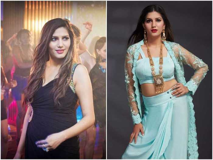 after delivery sapna chaudhary looks very beautiful in saree and glowing skin by regaining her previous figure