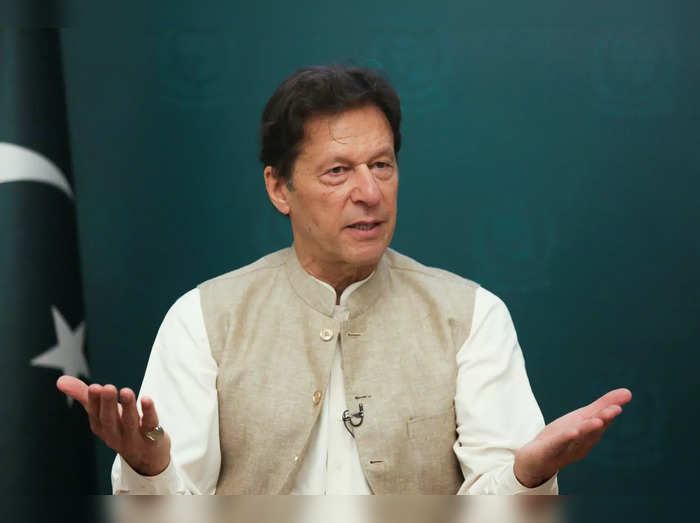 Pakistans Prime Minister Imran Khan gestures during an interview with Reuters, in Islamabad