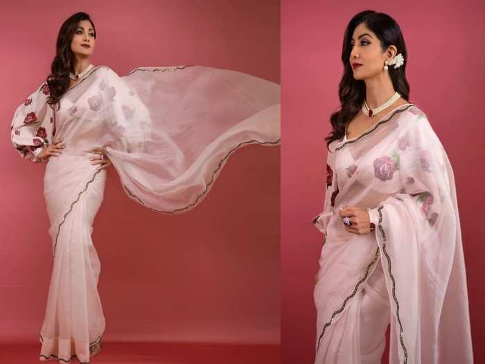 shilpa shetty looks beautiful in mirror work black pre draped saree set by reeti arneja