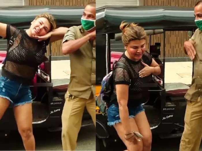 हौशी कलाकार- राखी सावंतने रिक्षा चालकाला थांबवून शिकवला डान्स, पाहा Video