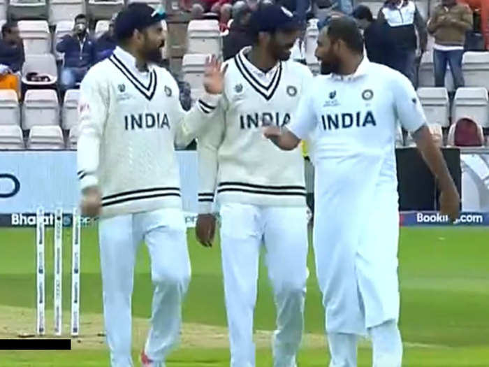 wtc final: mohammed shami wraps a towel while on field fans post fabulous reactions