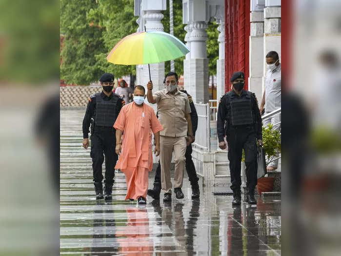 Gorakhpur: UP Chief Minister Yogi Adityanath visits Gorakhnath temple in Gorakhp...