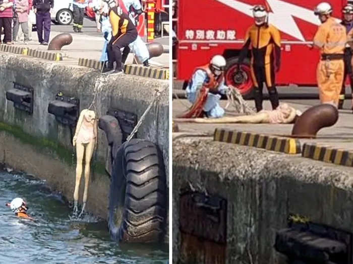 Fireforce rescues sex doll from drawning