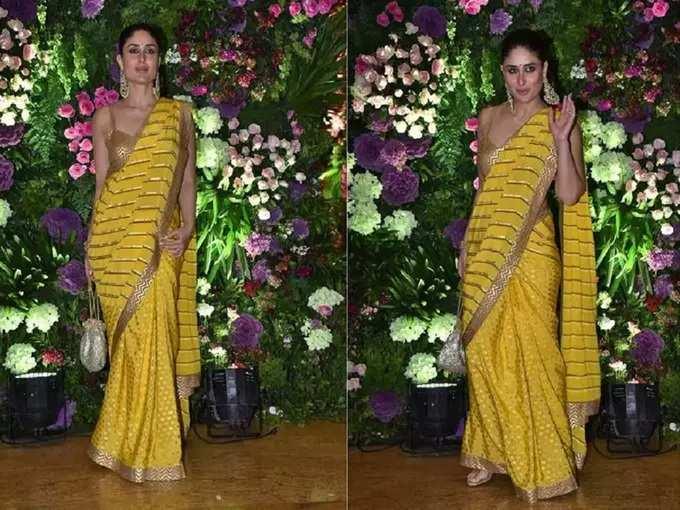 kareena kapoor bold and hot saree looks: करीना कपूरनं भावाच्या वरातीसाठी निवडला हॉट व बोल्ड साडी लुक, लोकांची नजर तिच्यावरच राहिली खिळून - kareena kapoor khan stunning look in yellow saree with golden blouse by nikasha