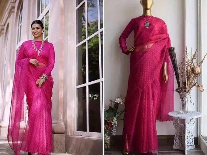 Divyanka Tripathi Glamorous Traditional Saree Look: अभिनेत्री गुलाबी रंगाच्या साडीमध्ये दिसतेय प्रचंड सुंदर, पतीसोबतचे रोमँटिक फोटो केले शेअर - divyanka tripathi dahiya looks pretty and stunning in rani pink bandhani organza saree latest photoshoot