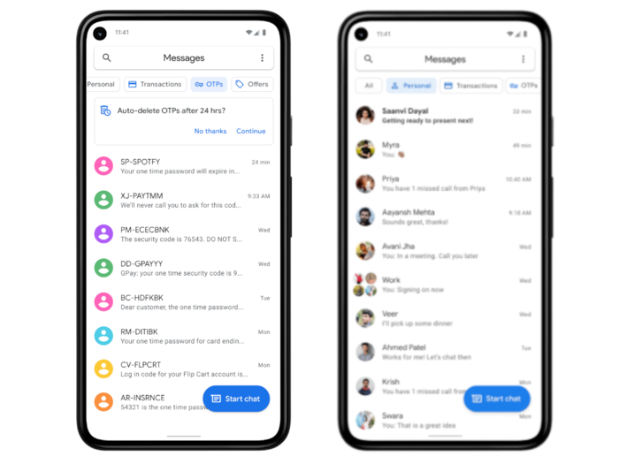Google Messages SMS App Gets Auto Deletion of OTPs and Categories Feature in India
