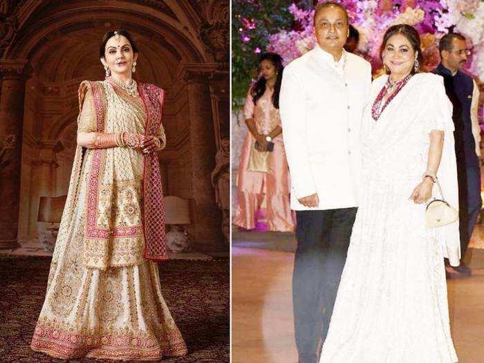 tina ambani looks gorgeous and elegant in orange saree for akash ambani and shloka mehta wedding
