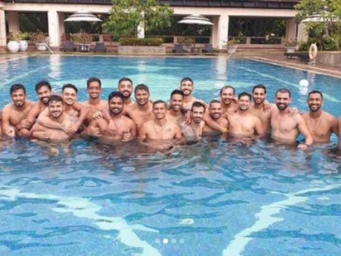 भारतीय खिलाड़ियों ने जमकर की मस्ती