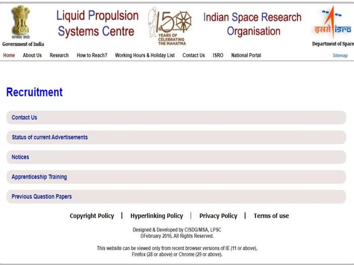 ISRO LPSC Notification
