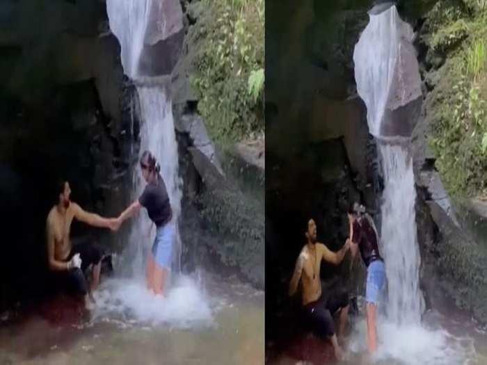 Ishant Sharma in waterfall with wife