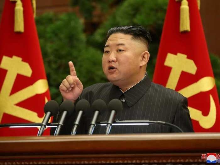 North Korean leader Kim Jong Un speaks during WPK meeting in Pyongyang.