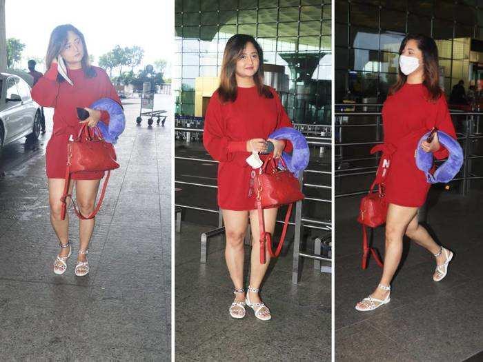 rashami desai rocks the casual look in pink sweatshirt dress at mumbai airport