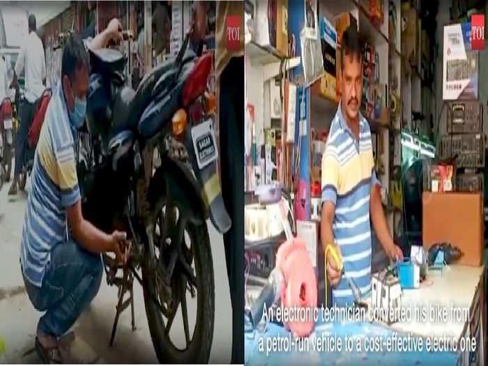 man turns his motorcycle to electric bike to get rid of petrol price hike