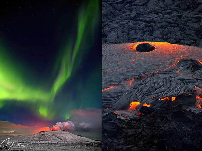 viral images of volcano eruption and aurora borealis in iceland