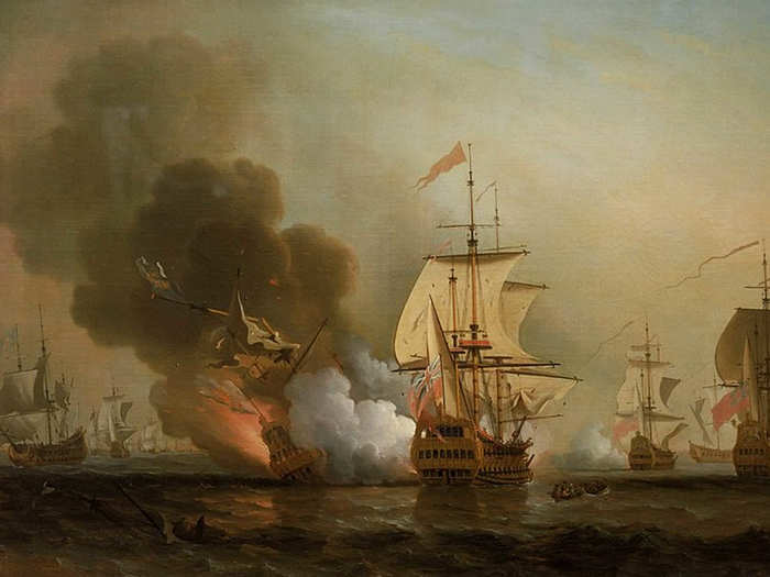 सोने से लदा जहाज डूबा (By Samuel Scott - Source=David Cordingly et autres, Pirates, terror on the High Seas - from the Caribbean to the South China Sea, Public Domain, https://commons.wikimedia.org/w/index.php?curid=7150219)